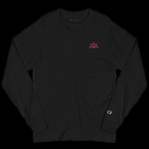 Lotus Pink Embroidered Men's Champion Long Sleeve Shirt