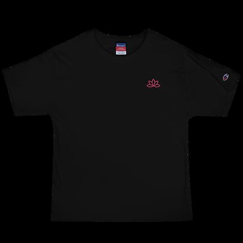 Lotus Pink Embroidered Men's Champion T-Shirt