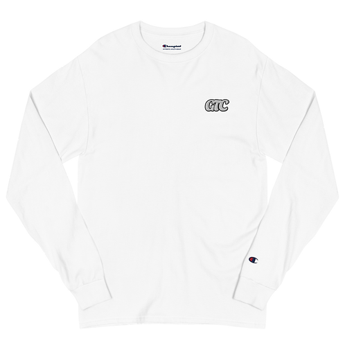White GTC Embroidered Men's Champion Long Sleeve Shirt