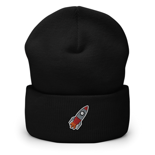 Rocket Embroidered Cuffed Beanie