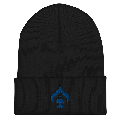 Ace Embroidered Blue Cuffed Beanie