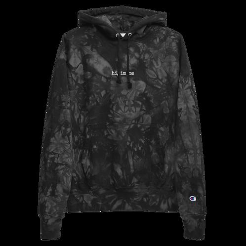 hi, im me Embroidered Unisex Champion tie-dye hoodie