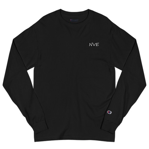 NVE White Embroidered Men's Champion Long Sleeve Shirt