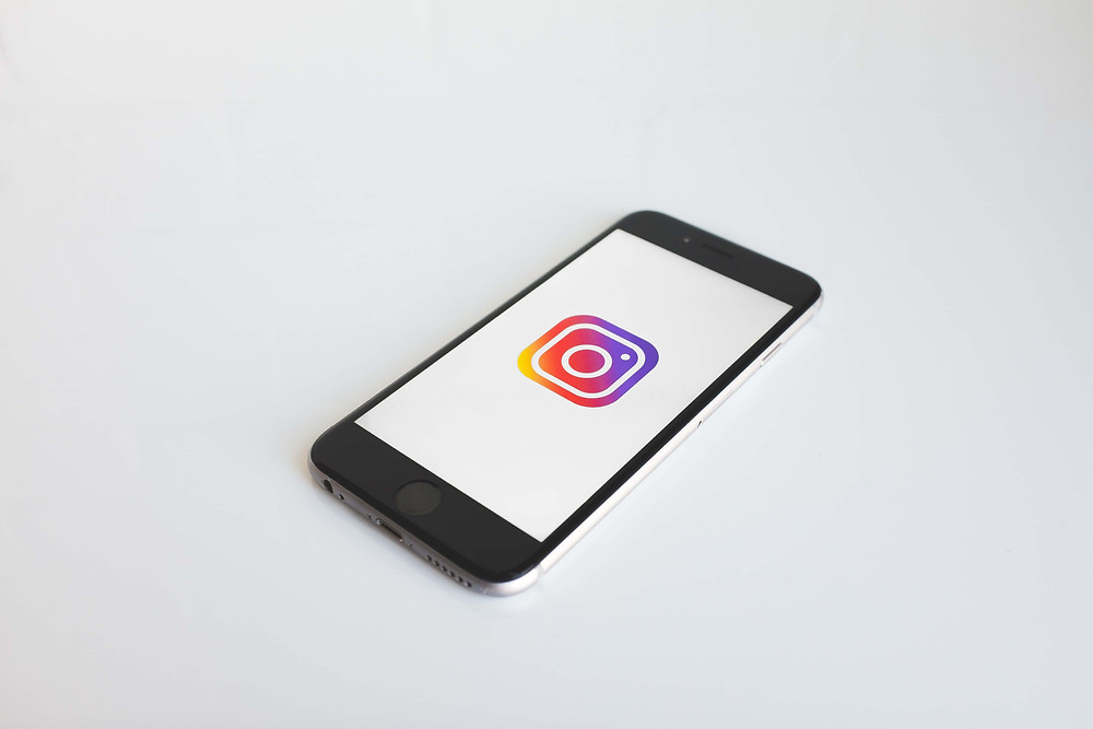 mobile with Instagram logo