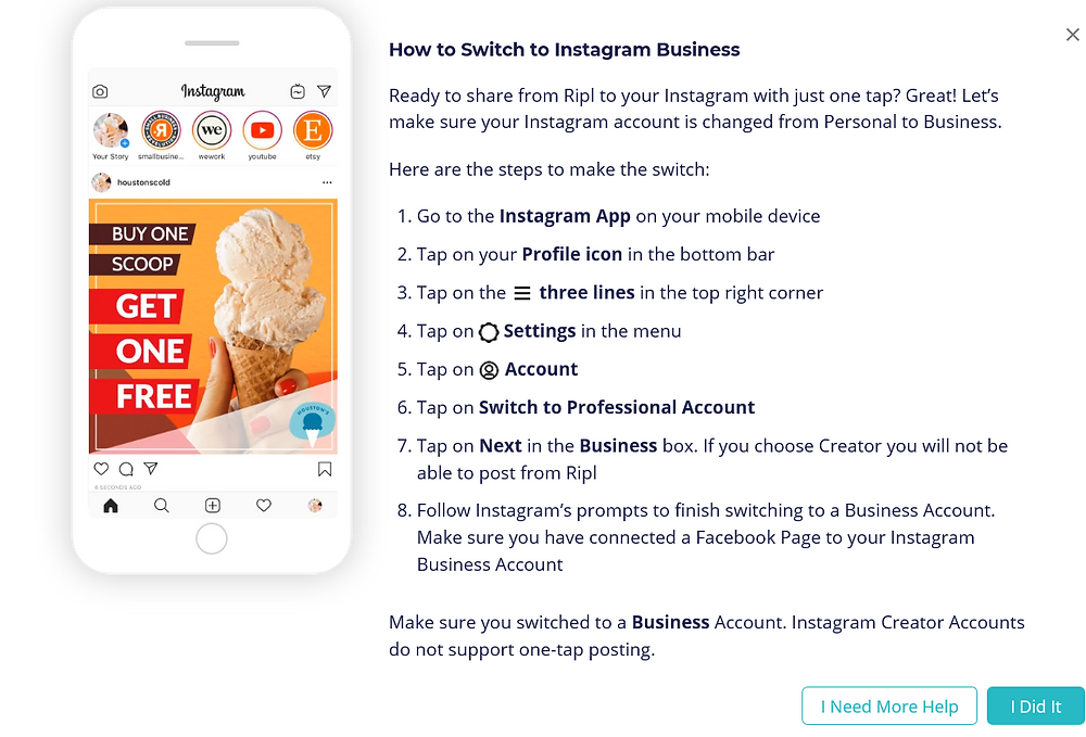 switching to Instagram Business