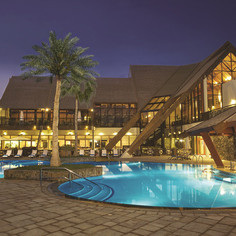 JA Palm Tree Court-La Fontana pool night
