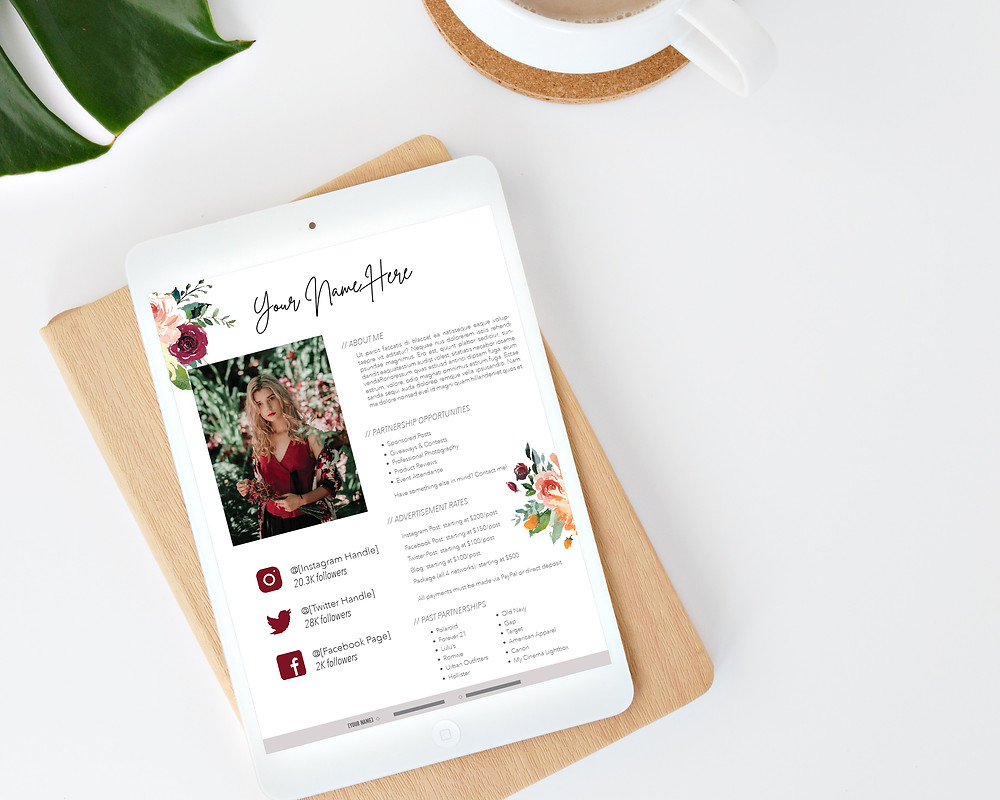 floral instagram social media influencer media kit