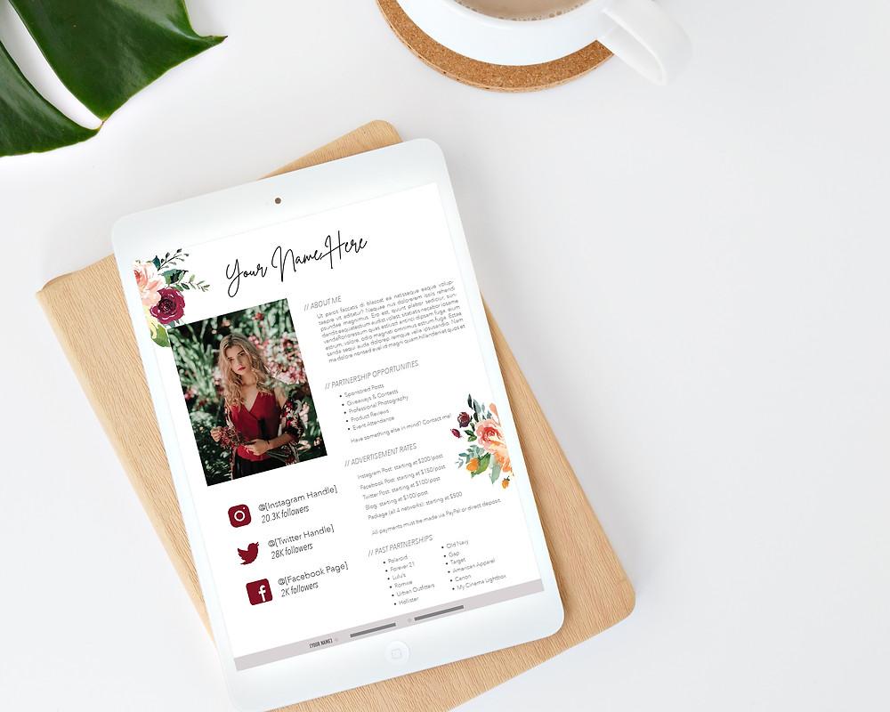 floral instagram social media influencer media kit