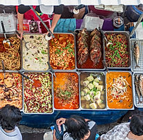 Top view of a Thai street food ,The mark
