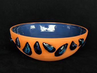 "terracotta mussel bowl approx 14""  $395"