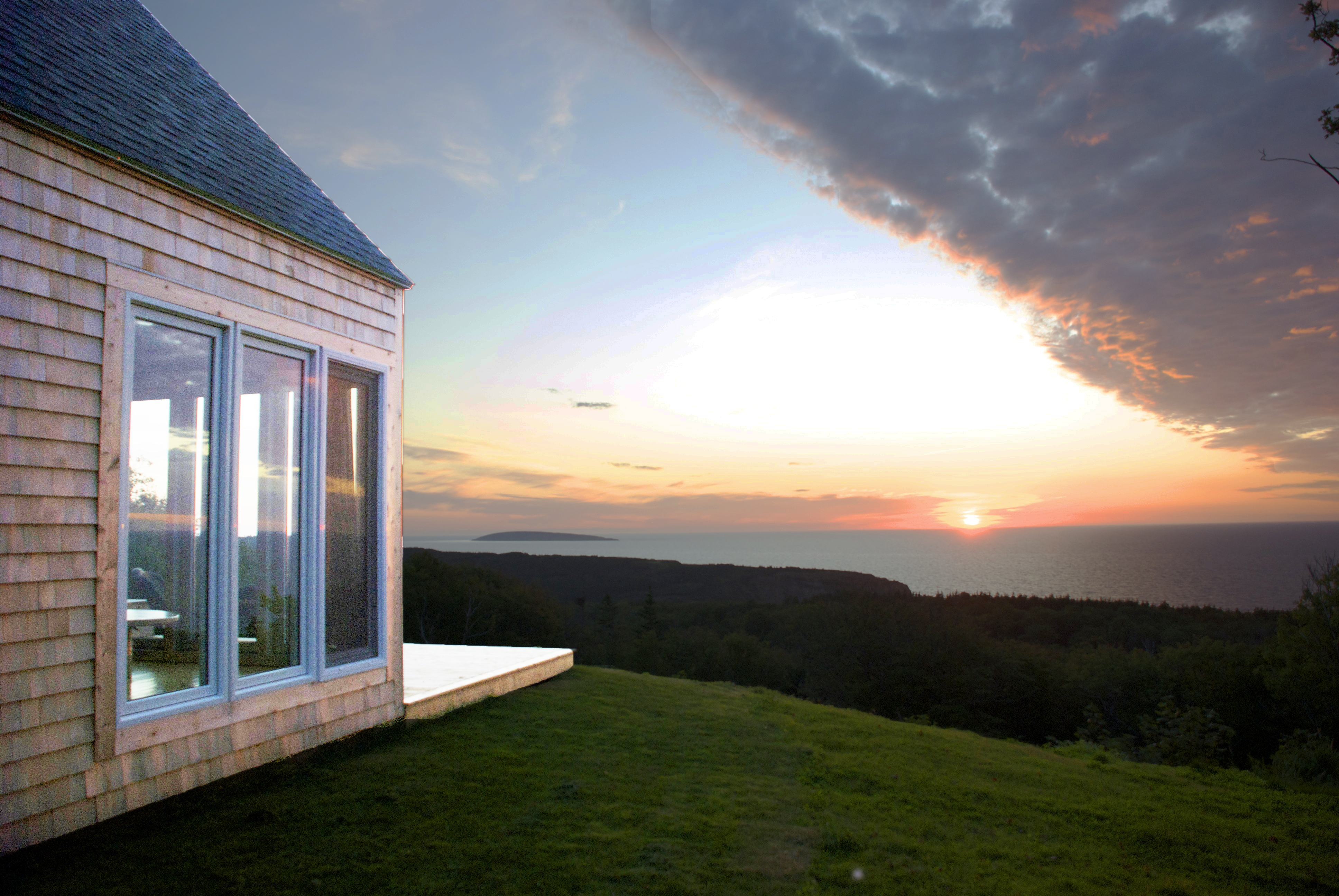 sunset, cape cottage, chimney corner