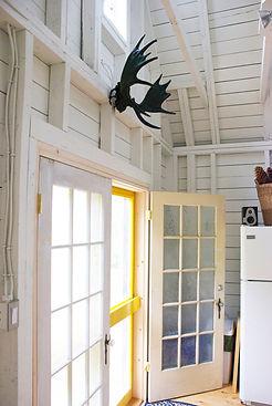 french doors at deepBlueSea cottage, seasky oceanfront cottgages in chimney corner, cape breton
