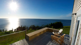 deck facing ocean, eagles pass cottage, seasky cottgages in chimney corner, cape breton