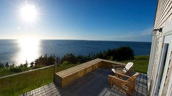 deck facing ocean, eagles pass cottage, seasky cottgages in chimney corner, cape breton