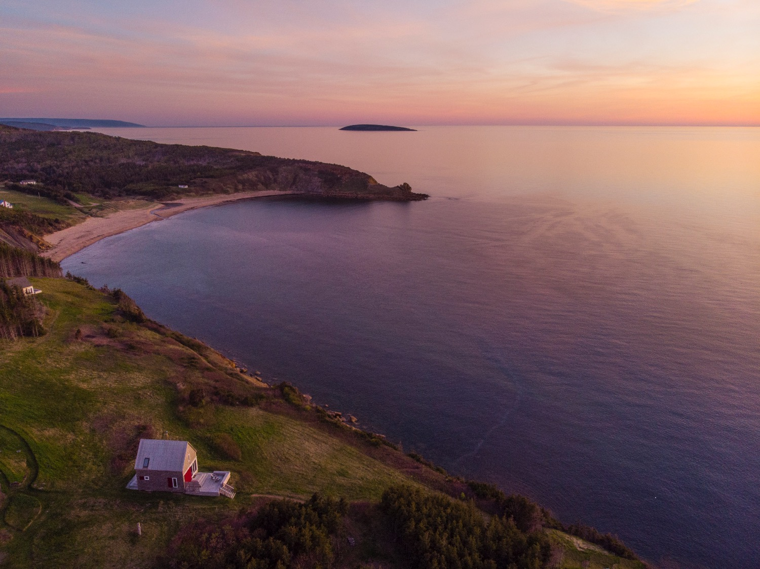 high evening view of SeaSky cottage