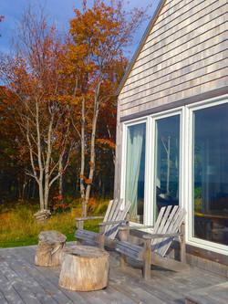 rear deck facing ocean in Fall