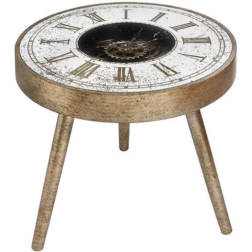 Mirrored Round Framed Clock Table With Moving Mechanism