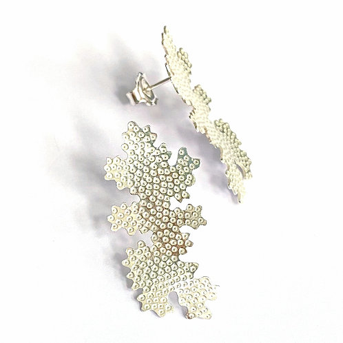 Foliose long studs, sterling silver, product shot