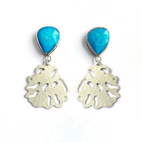 Turquoise drop earrings, product shot