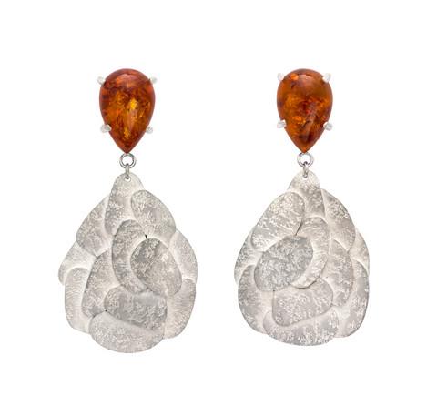 Amber Map drop earrings, sterling silver, Kate Bajic