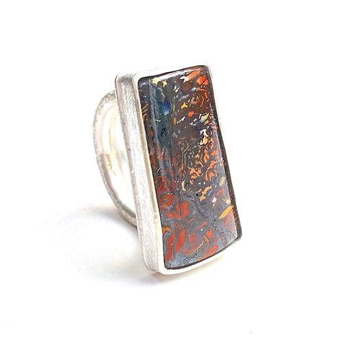 Koroit opal ring, sterling silver