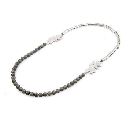 Foliose necklace, sterling silver, labradorite, Kate Bajic