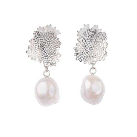 Foliose Pearl drops, sterling silver, baroque pearls, Kate Bajic
