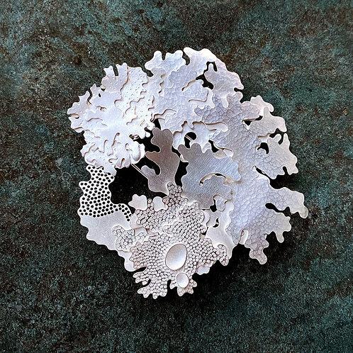 Foliose brooch, sterling silver