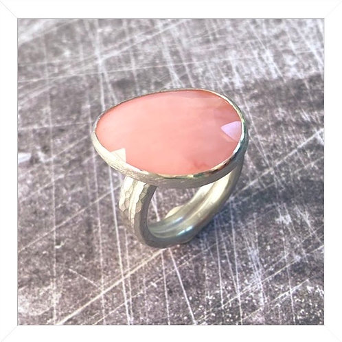 Pink opal cocktail ring, sterling silver