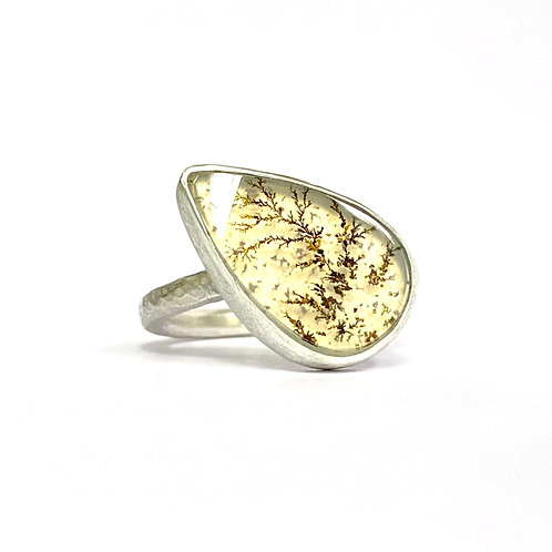 Dendritic agate ring, sterling silver