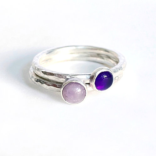 Amethyst stacking rings, size P, product shot