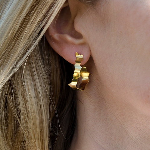 Frond hoops, large polished, gold vermeil, shown on model
