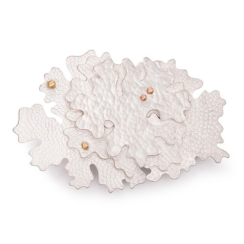 Parmelia brooch, sterling silver, 18ct gold