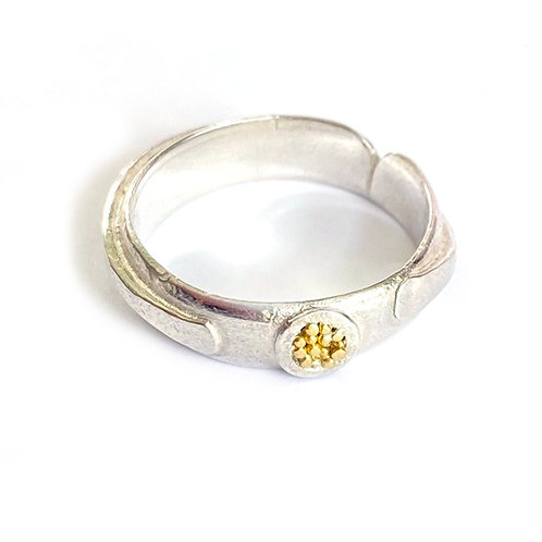 Dotty wrap ring, sterling silver, 22ct gold