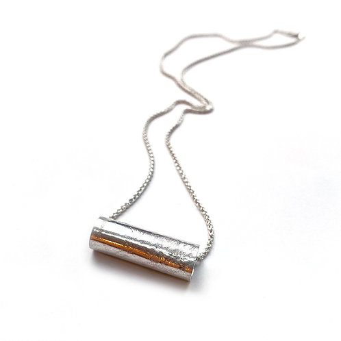 Tube pendant, sterling silver, product shot