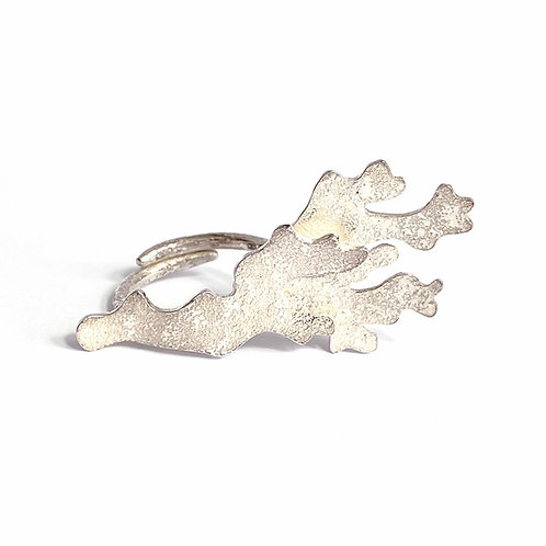 Frond adjustable ring, sterling silver