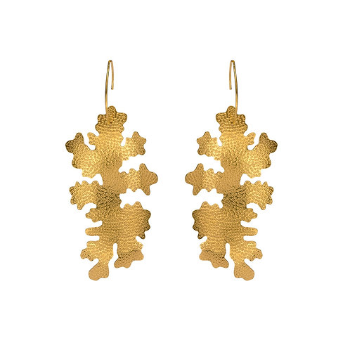 Foliose drop earrings, gold vermeil, product shot