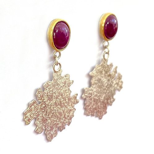 Ruby Parmelia drop earrings, side view