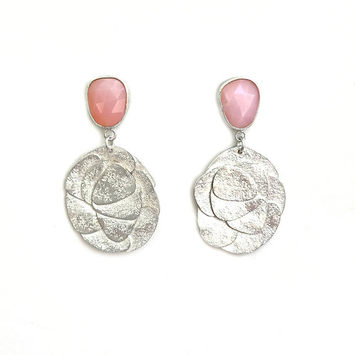 Pink opal earrings, product shot, front view