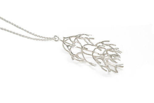 Frond pendant, sterling silver, oxidised silver