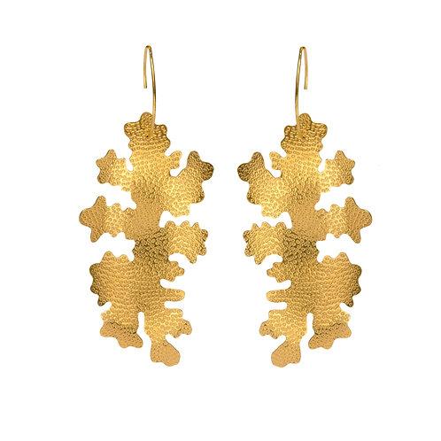 Foliose drop earrings, gold vermeil
