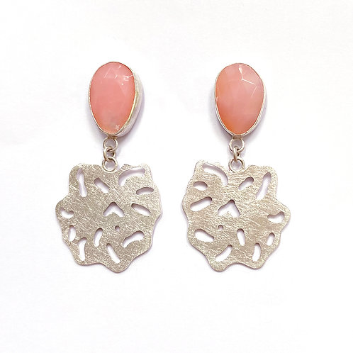 Pink opal drop earrings, front view, product shot