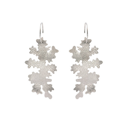 Foliose drop earrings, sterling silver, product shot