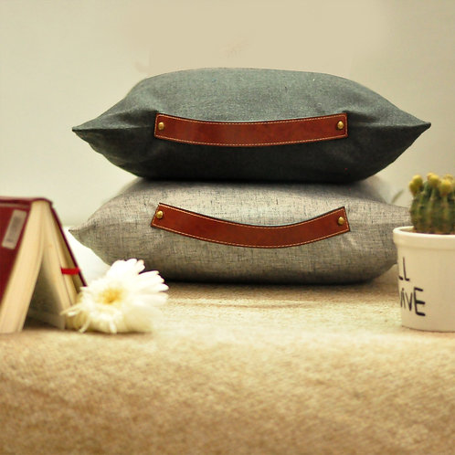 Vintage leather cushion cover
