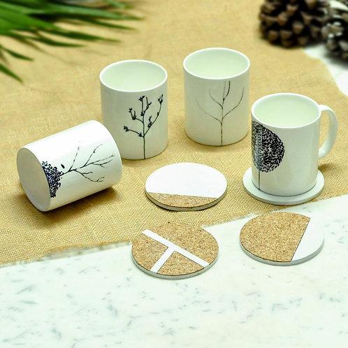 Coffee mug and round cork coasters