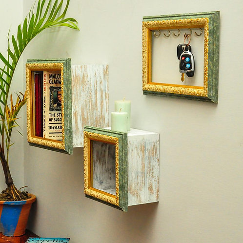 Distressed frame shelves and frame key holder