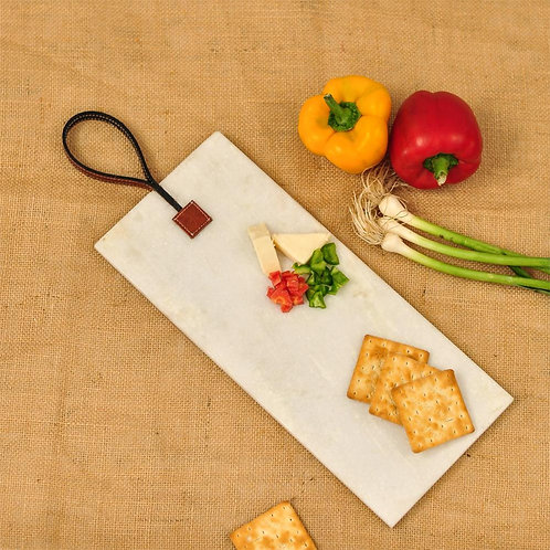 Rectangle leather tag platter