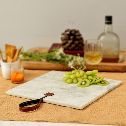 Square leather tag platter