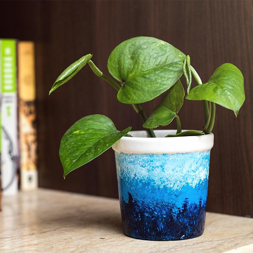 Hand painted blue pot