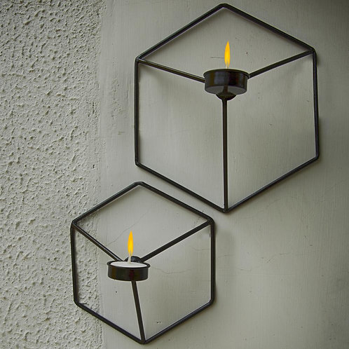 Wall mounted Hexagon tealight holder     One Big, One small